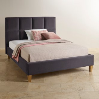 Somnus Charcoal Velvet King-Size Bed