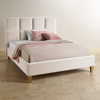 Somnus Ivory Velvet King-Size Bed