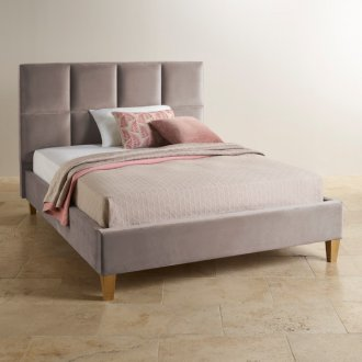 Somnus Light Grey Velvet Super King-Size Bed