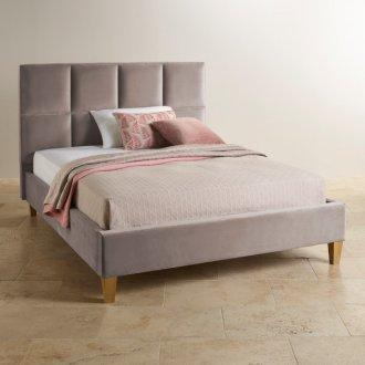 Somnus Light Grey Velvet Super King-Size Bed