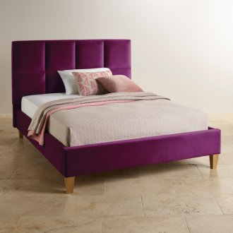 Somnus Plum Velvet Super King-Size Bed
