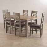 St. Ives Natural Oak and Grey Painted 5ft Extending Dining Table + 6 Fabric Chairs - Thumbnail 2