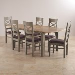 St. Ives Natural Oak and Grey Painted 5ft Extending Dining Table + 6 Fabric Chairs - Thumbnail 3