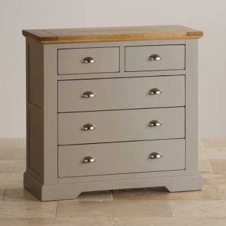 St Ives Natural Oak and Light Grey Painted 2+3 Drawer Chest