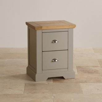 St Ives Natural Oak and Light Grey Painted 2 Drawer Bedside Table