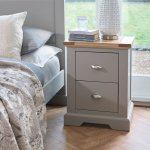 St Ives Natural Oak and Light Grey Painted Bedside Table - Thumbnail 2