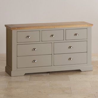 St Ives Natural Oak and Light Grey Painted 3+4 Drawer Chest