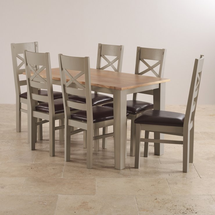 """St Ives Natural Oak and Light Grey Painted 4ft 6"""" Dining Table with 6 Leather Chairs"""