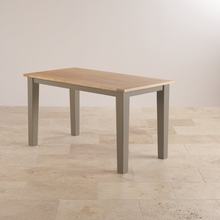 "St Ives Natural Oak and Light Grey Painted 4ft 6"" Dining Table with 6 Leather Chairs"