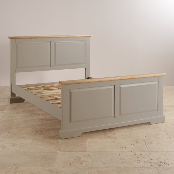 """St Ives Natural Oak and Light Grey Painted 4ft 6"""" Double Bed"""