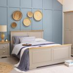 "St Ives Natural Oak and Light Grey Painted 4ft 6"" Double Bed - Thumbnail 3"