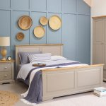 """St Ives Natural Oak and Light Grey Painted 4ft 6"""" Double Bed - Thumbnail 3"""