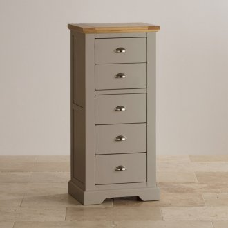 St Ives Natural Oak and Light Grey Painted 5 Drawer Tallboy