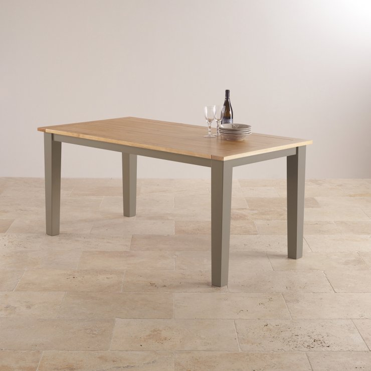 """St Ives Natural Oak and Light Grey Painted 5ft 6"""" x 3ft Dining Table"""