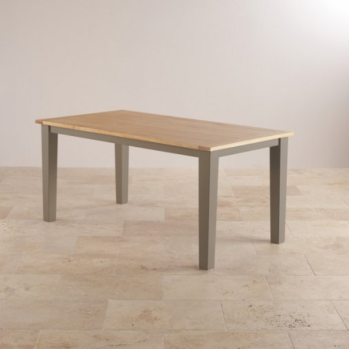 "St Ives Natural Oak and Light Grey Painted 5ft 6"" x 3ft Dining Table"