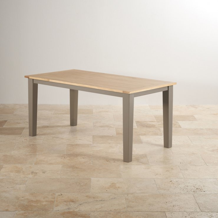 """St Ives Natural Oak and Light Grey Painted 5ft 6"""" Dining Table with 6 Braced Leather Chairs"""