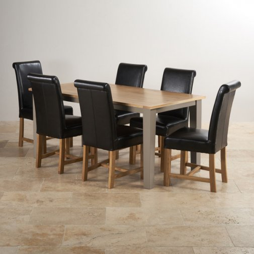 "St Ives Natural Oak and Light Grey Painted 5ft 6"" Dining Table with 6 Braced Leather Chairs"