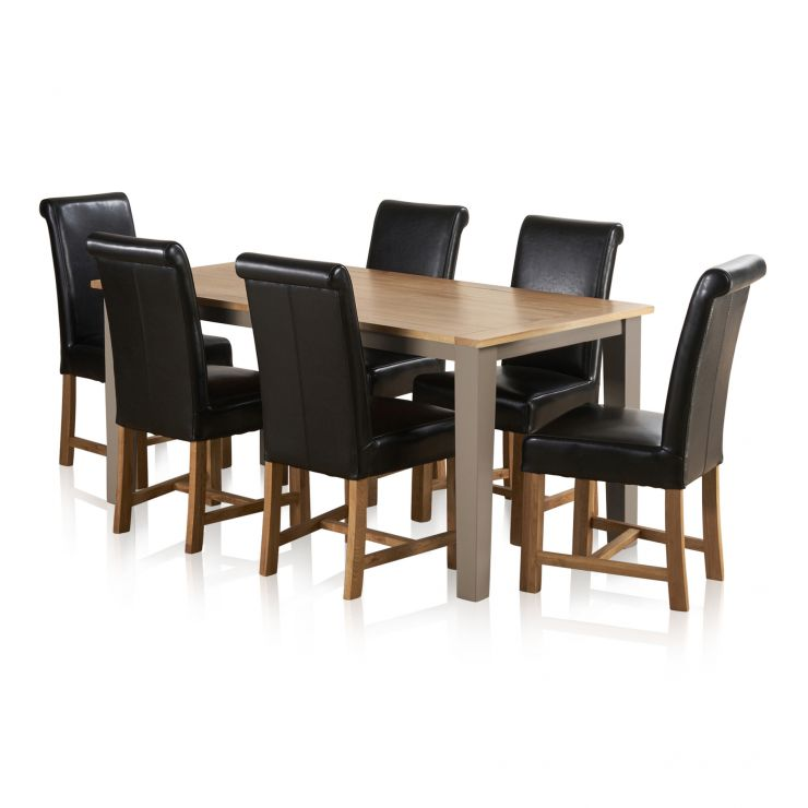 "St Ives Natural Oak and Light Grey Painted 5ft 6"" Dining Table with 6 Braced Leather Chairs - Image 6"