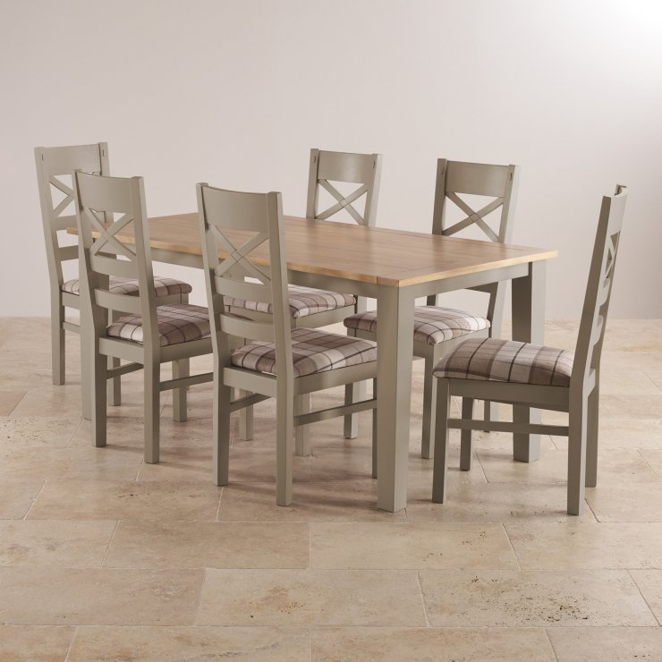"""St Ives Natural Oak and Light Grey Painted 5ft 6"""" Dining Table with 6 Fabric Chairs"""