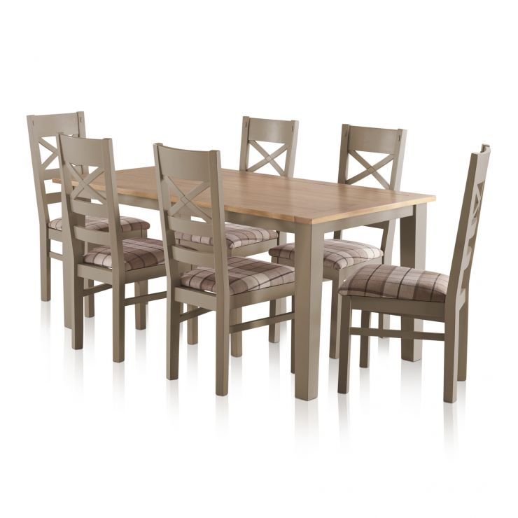 "St Ives Natural Oak and Light Grey Painted 5ft 6"" Dining Table with 6 Fabric Chairs - Image 1"