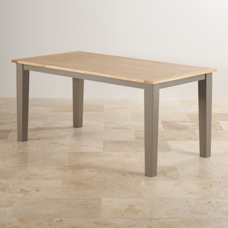 """St Ives Natural Oak and Light Grey Painted 5ft 6"""" Dining Table with 6 Patterned Fabric Chairs"""