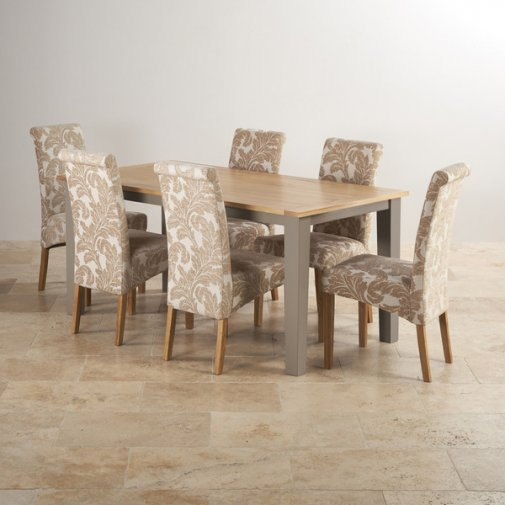 "St Ives Natural Oak and Light Grey Painted 5ft 6"" Dining Table with 6 Patterned Fabric Chairs"