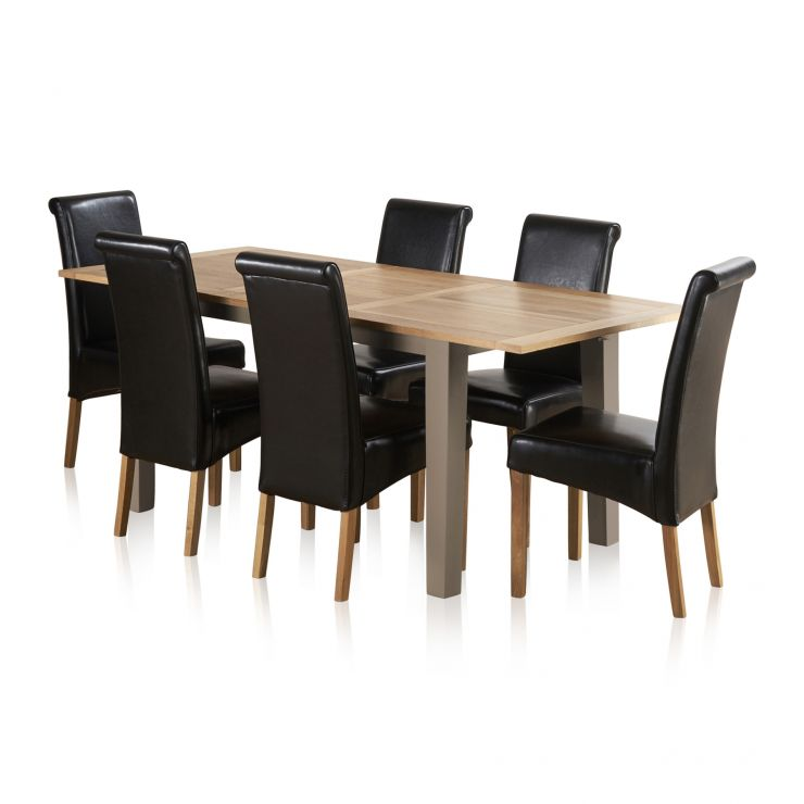 St Ives Natural Oak and Light Grey Painted 5ft Extending Dining Table + 6 Leather Chairs
