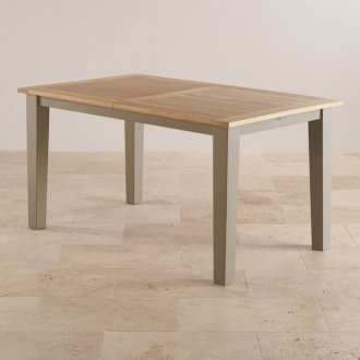 St Ives Natural Oak and Light Grey Painted 5ft Extending Dining Table