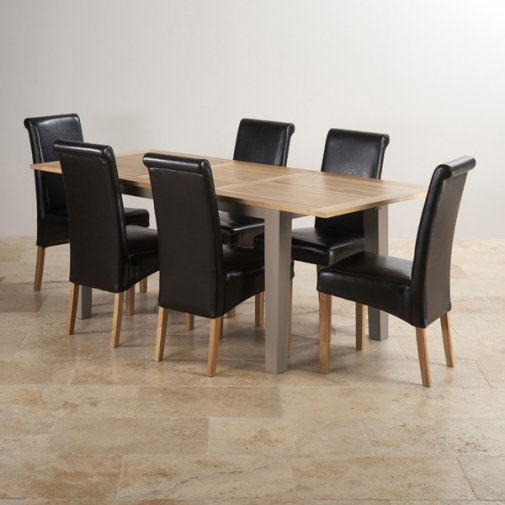 St Ives Natural Oak and Light Grey Painted 5ft Extending Dining Table with 6 Leather Chairs