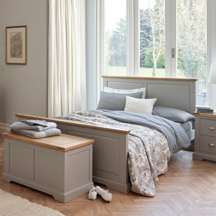 St Ives Natural Oak and Light Grey Painted 5ft King-Size Bed