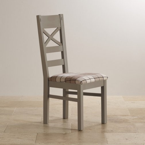 St Ives Natural Oak and Light Grey Painted and Check Brown Fabric Chair