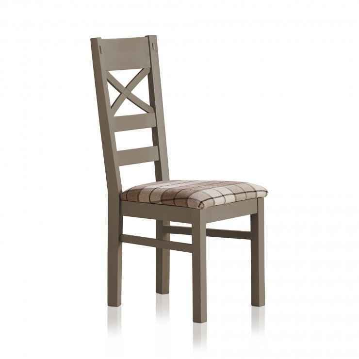 St Ives Natural Oak and Light Grey Painted and Check Brown Fabric Chair - Image 2