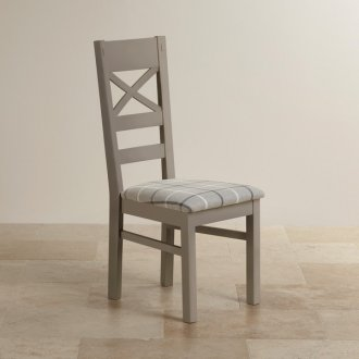 St Ives Natural Oak and Light Grey Painted and Check Granite Fabric Dining Chair