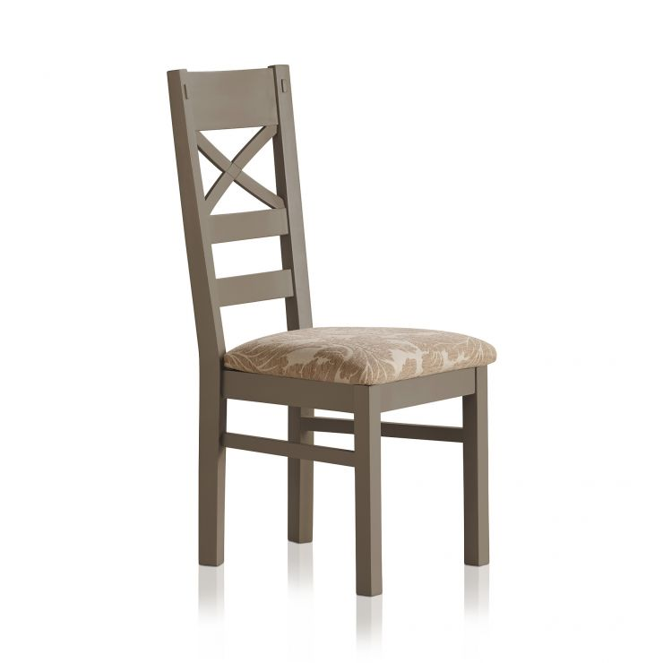 St Ives Natural Oak and Light Grey Painted and Patterned Beige Fabric Dining Chair - Image 3