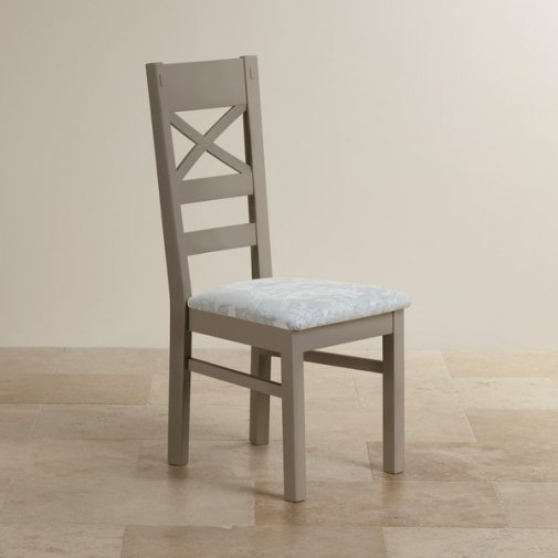 St Ives Natural Oak and Light Grey Painted and Patterned Duck Egg Fabric Dining Chair