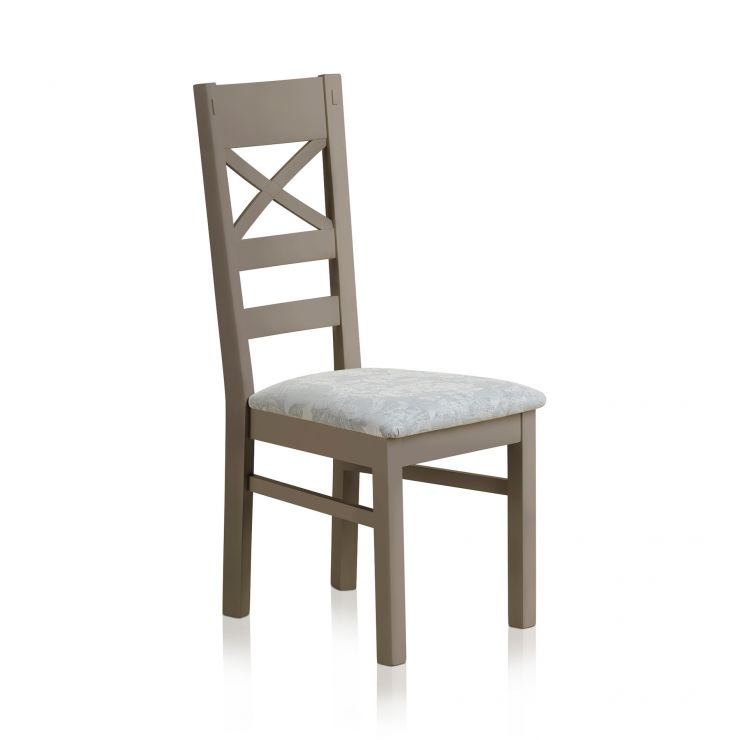 St Ives Natural Oak and Light Grey Painted and Patterned Duck Egg Fabric Dining Chair - Image 3