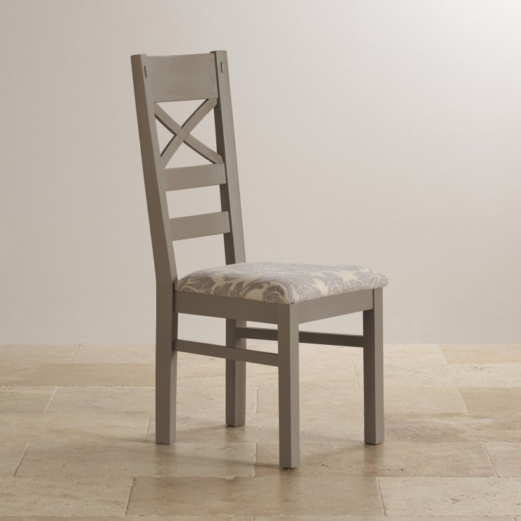 St Ives Painted Natural Oak and Patterned Grey Fabric Dining Chair