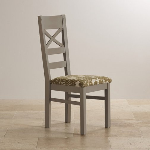 St Ives Natural Oak and Light Grey Painted and Patterned Sage Fabric Dining Chair