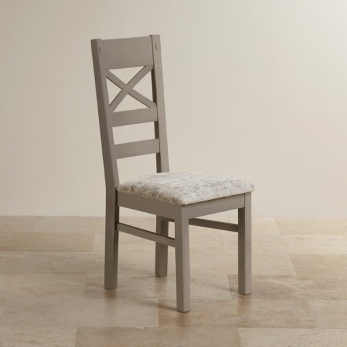St Ives Natural Oak and Light Grey Painted and Plain Truffle Fabric Dining Chair