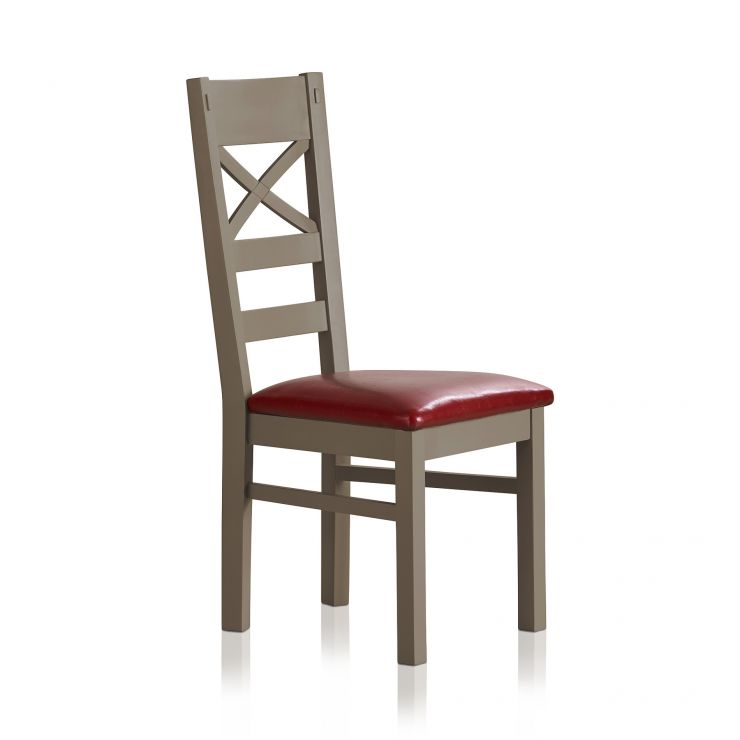 St Ives Natural Oak and Light Grey Painted and Red Leather Dining Chair