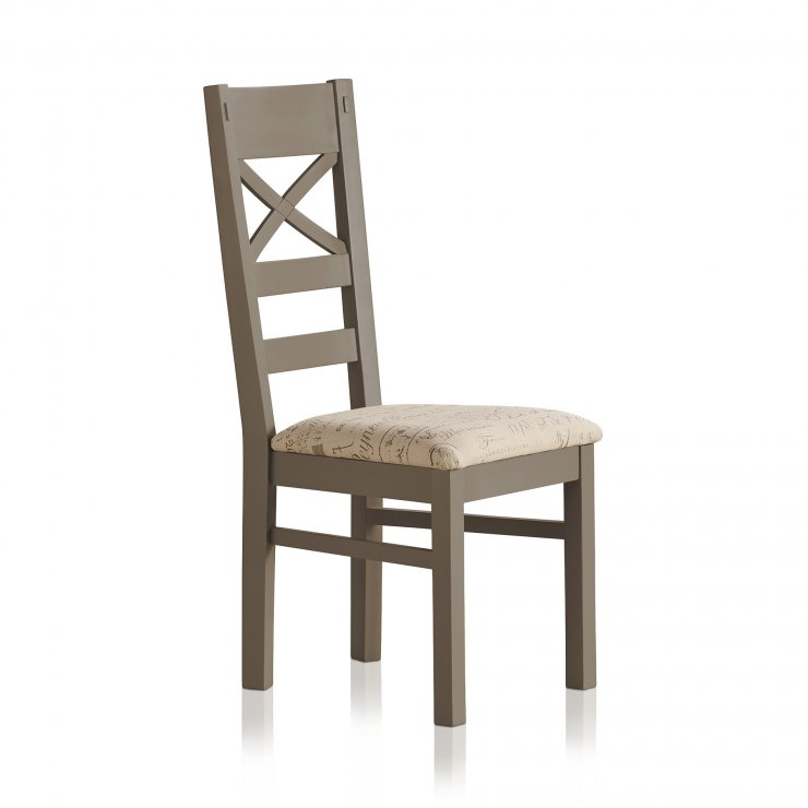 St Ives Natural Oak and Light Grey Painted and Scripted Beige Fabric Chair - Image 3