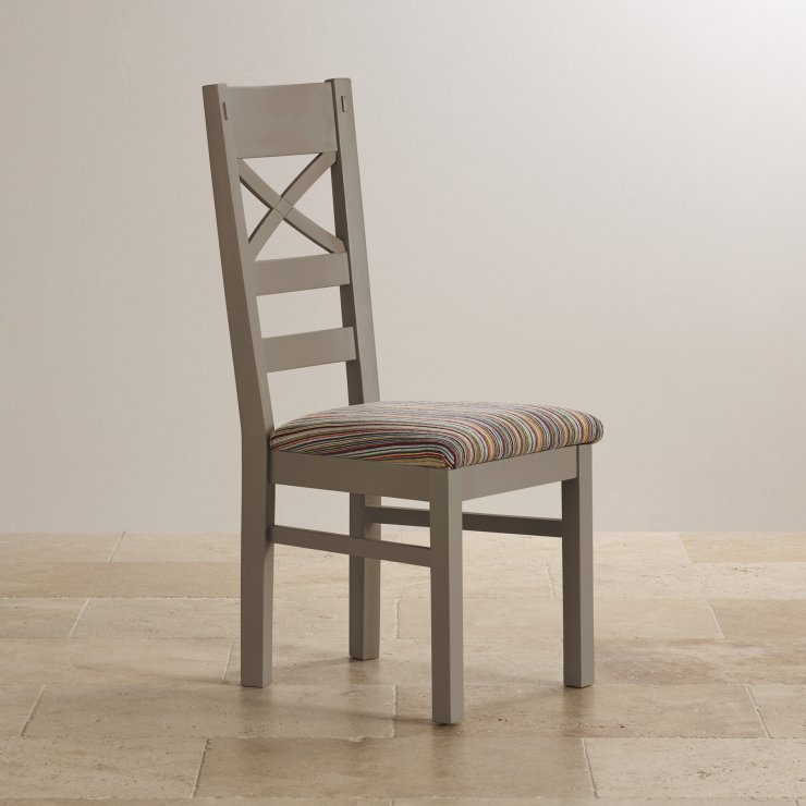 St Ives Natural Oak and Light Grey Painted and Striped Multi-coloured Fabric Chair