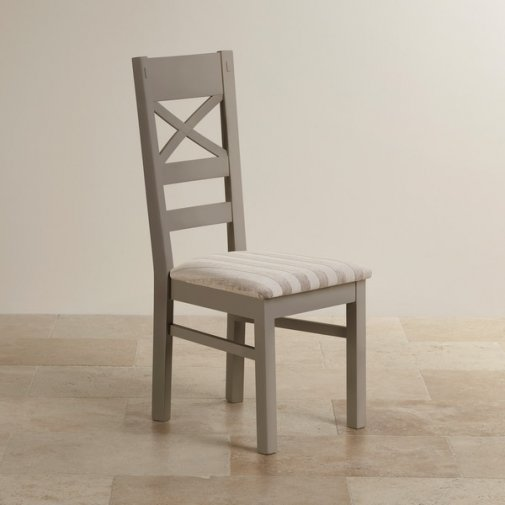 St Ives Natural Oak and Light Grey Painted and Striped Silver Fabric Dining Chair