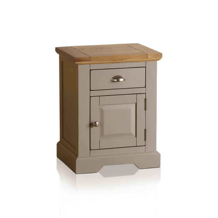 St Ives Natural Oak and Light Grey Painted Bedside Table - Image 4