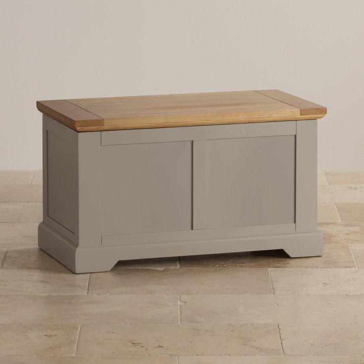 St Ives Natural Oak and Light Grey Painted Blanket Box
