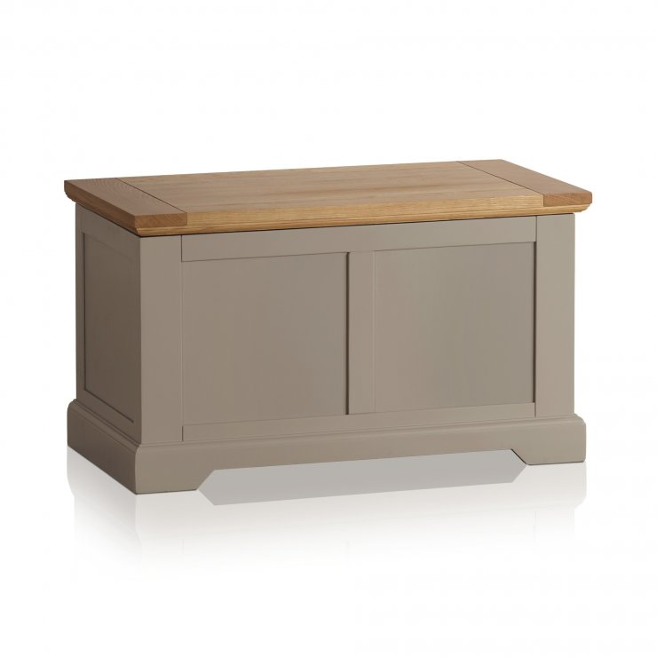 St Ives Natural Oak and Light Grey Painted Blanket Box - Image 4