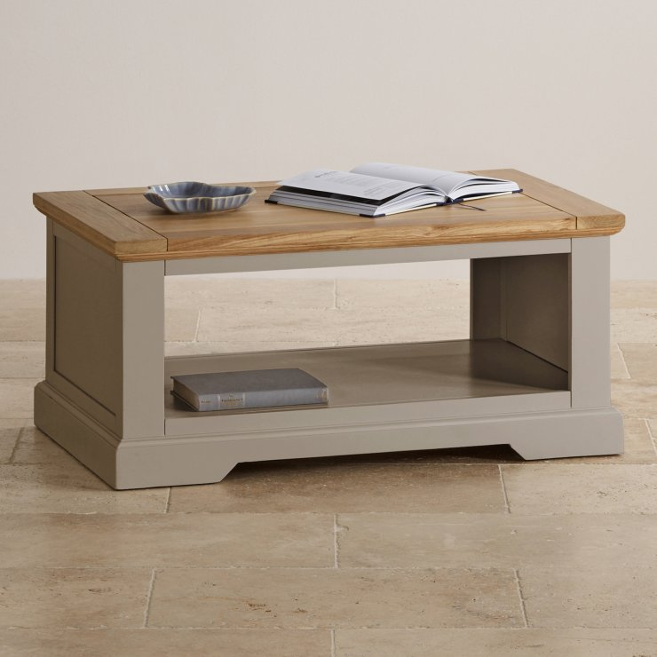St Ives Grey Coffee Table With Brushed Oak Top
