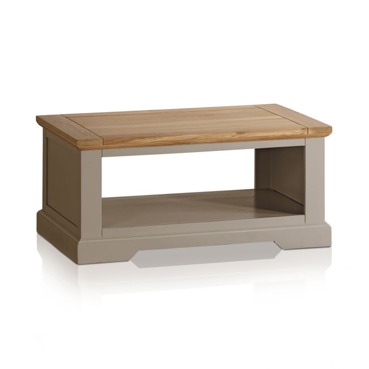 St Ives Natural Oak and Light Grey Painted Coffee Table - Image 4