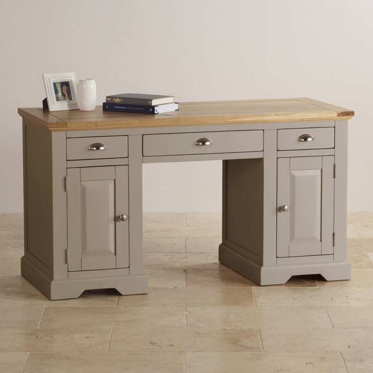 St Ives Natural Oak and Light Grey Painted Computer Desk