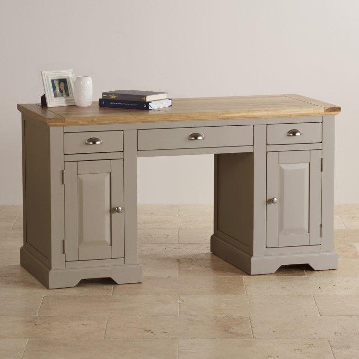 St Ives Natural Oak and Light Grey Painted Computer Desk